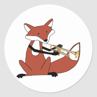 Fox jouant la trompette autocollants ronds