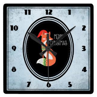 Fox mignon dans le casquette de Noël à l'intérieur Horloge Carrée