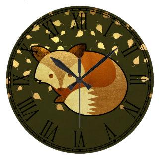 Fox mignon d'automne grande horloge ronde
