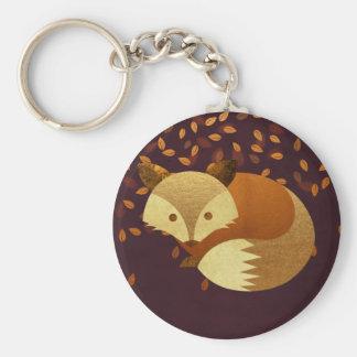 Fox mignon d'automne porte-clé rond
