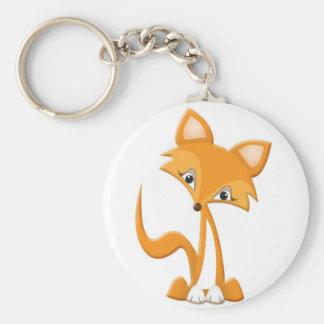 Fox mignon de bande dessinée porte-clé rond