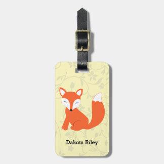 Fox mignon de bébé de région boisée étiquette à bagages