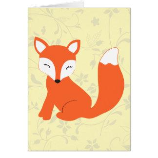 Fox mignon de bébé de région boisée carte de vœux