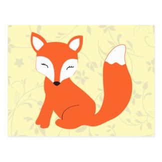 Fox mignon de bébé de région boisée carte postale