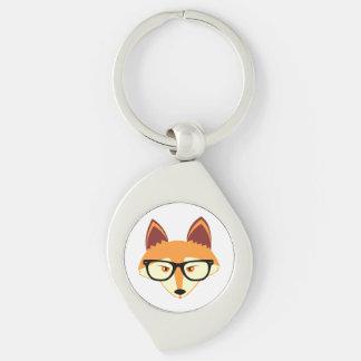 Fox mignon de hippie avec des verres porte-clé swirl argenté