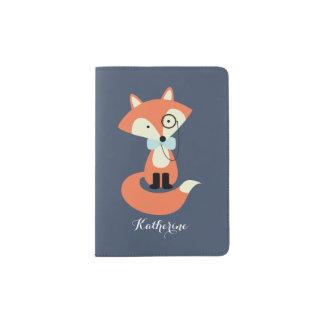 Fox mignon de hippie avec le monocle et la cravate protège-passeport