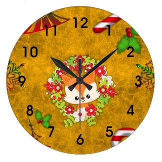 Fox mignon de Noël Grande Horloge Ronde