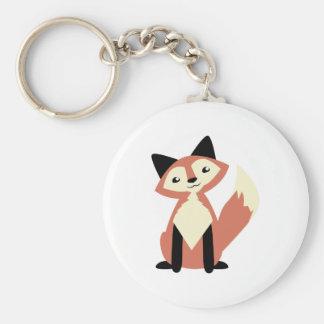 Fox mignon de Tête-inclinaison Porte-clé Rond
