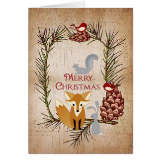 Fox mignon et Noël d'animaux de région boisée Carte De Vœux