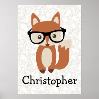 Fox nommé personnalisé w/Glasses de bébé de Affiches
