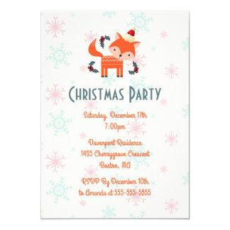 Fox orange à la fête de Noël de casquette de Père Carton D'invitation 12,7 Cm X 17,78 Cm