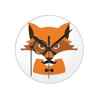 Fox orange horloge ronde
