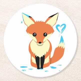 Fox peignant les dessous de verre bleus de carton dessous-de-verre rond en papier