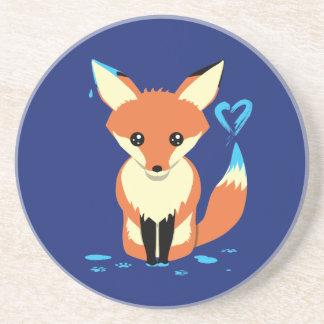 Fox peignant les dessous de verre mignons de grès