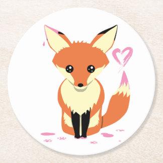Fox peignant les dessous de verre roses de carton dessous-de-verre rond en papier