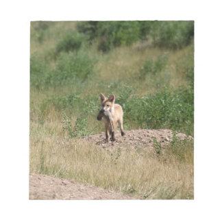 Fox rouge avec le déjeuner bloc-note