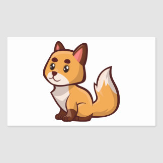 Fox rouge de bande dessinée sticker rectangulaire