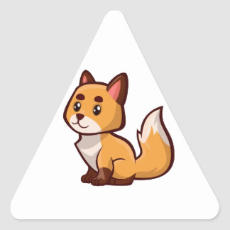Fox rouge de bande dessinée sticker triangulaire