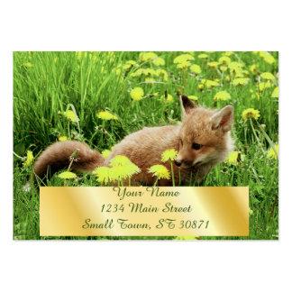 Fox rouge de bébé dans le domaine vert avec les carte de visite grand format