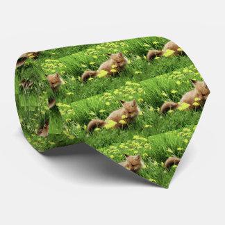 Fox rouge de bébé dans le domaine vert avec les cravate personnalisable