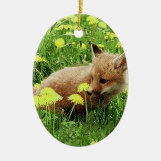 Fox rouge de bébé dans le domaine vert avec les ornement ovale en céramique