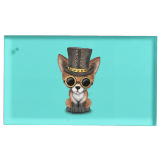 Fox rouge de bébé mignon de Steampunk Porte-carte De Table