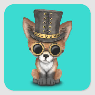 Fox rouge de bébé mignon de Steampunk Sticker Carré