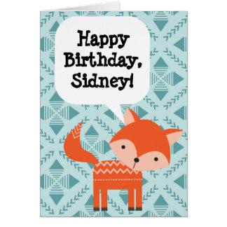 Fox rouge de l'anniversaire des enfants carte de vœux