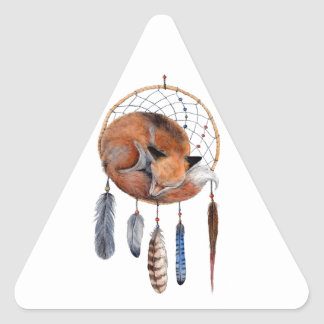 Fox rouge dormant sur Dreamcatcher Sticker Triangulaire