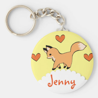 Fox rouge et coeurs mignons porte-clé rond