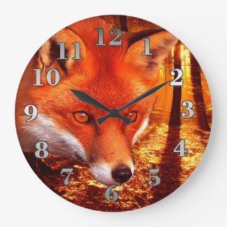 Fox rouge grande horloge ronde