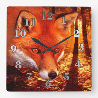 Fox rouge horloge carrée