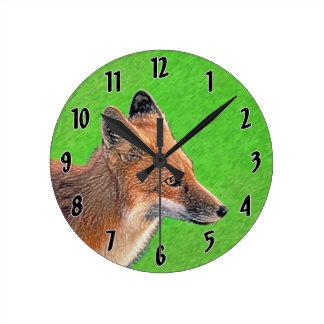 Fox rouge horloge ronde