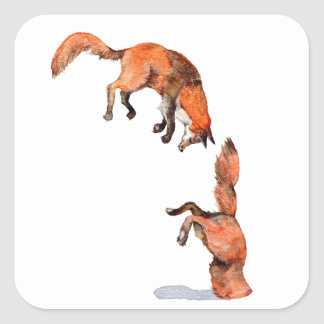 Fox rouge sautant sticker carré