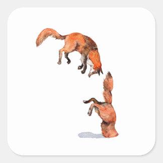 Fox rouge sautant sticker carré