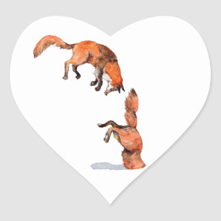 Fox rouge sautant sticker cœur
