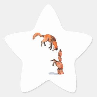 Fox rouge sautant sticker étoile