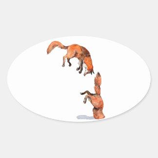 Fox rouge sautant sticker ovale