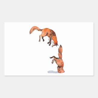 Fox rouge sautant sticker rectangulaire