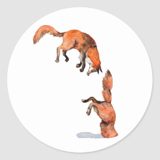 Fox rouge sautant sticker rond