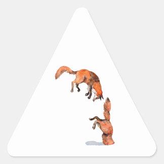 Fox rouge sautant sticker triangulaire