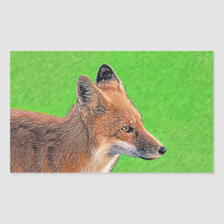 Fox rouge sticker rectangulaire