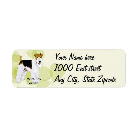 Fox Terrier - conception verte de fil de feuille Étiquette D'adresse Retour