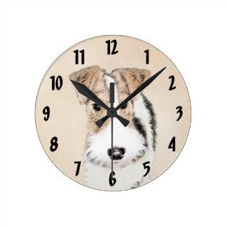 Fox Terrier de fil Horloge Ronde