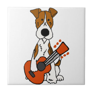 Fox Terrier mignon étendant l'art de guitare Carreau