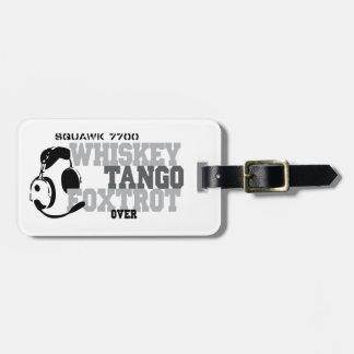 Fox-trot de tango de whiskey - humour d'aviation étiquette à bagage