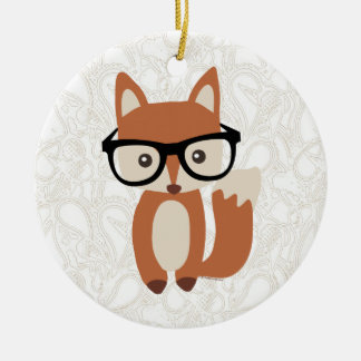Fox w/Glasses de bébé de hippie Ornement Rond En Céramique