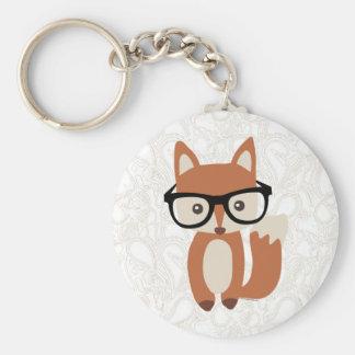 Fox w/Glasses de bébé de hippie Porte-clé Rond