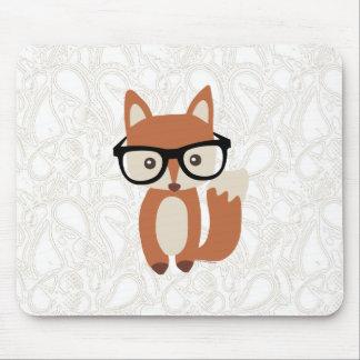 Fox w/Glasses de bébé de hippie Tapis De Souris