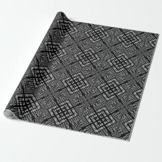 Fractale binaire noire et blanche papier cadeau
